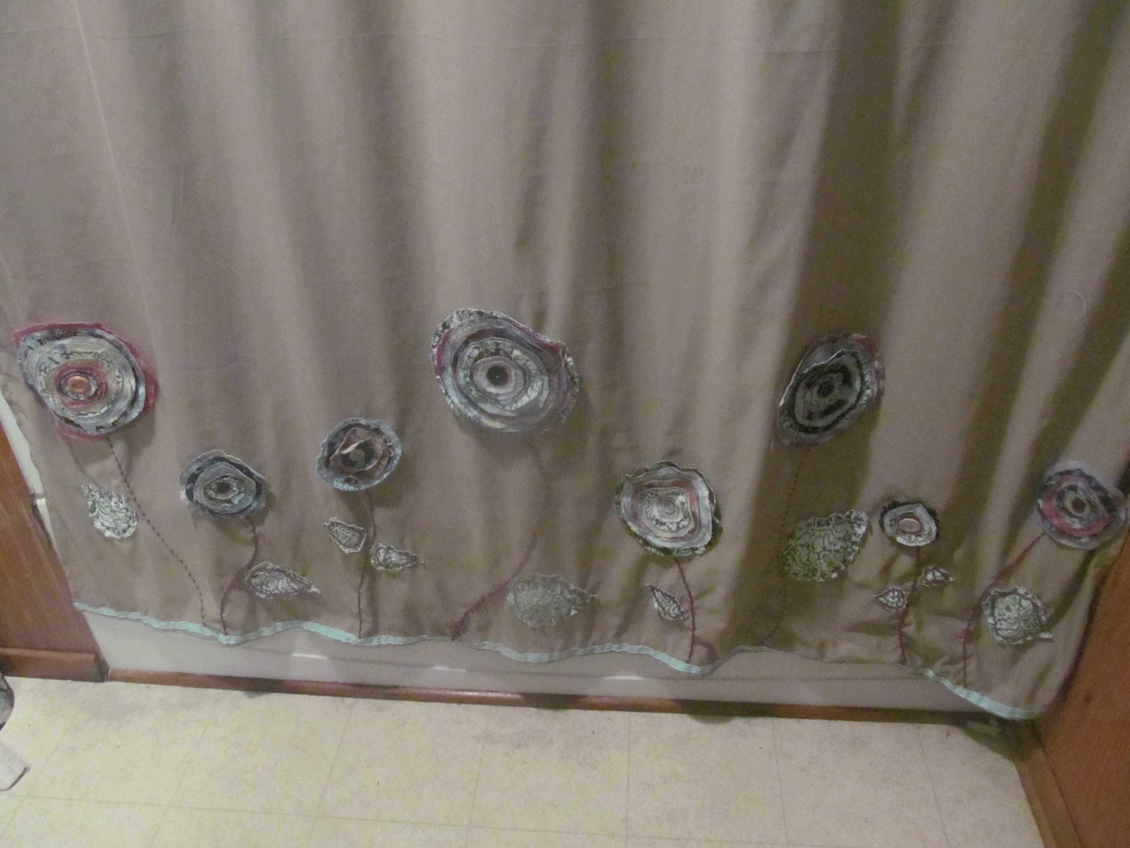 Diy shabby chic fabric flowers - Shabby chic shower curtains ...