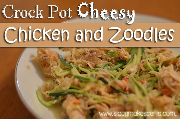 This Crock Pot Cheesy Chicken and Zoodles recipe is perfect for when you'll be out of the house all day! Prep your zoodles ahead of time and you'll be good to go!