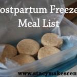 Postpartum Freezer Meals List