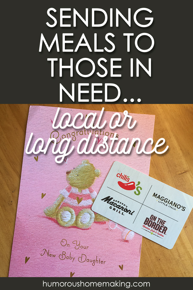How can you show love for those in need? Bring them a meal! It's one of my favorite ways to bless new moms, those going through hard times and any other reason I can think of!