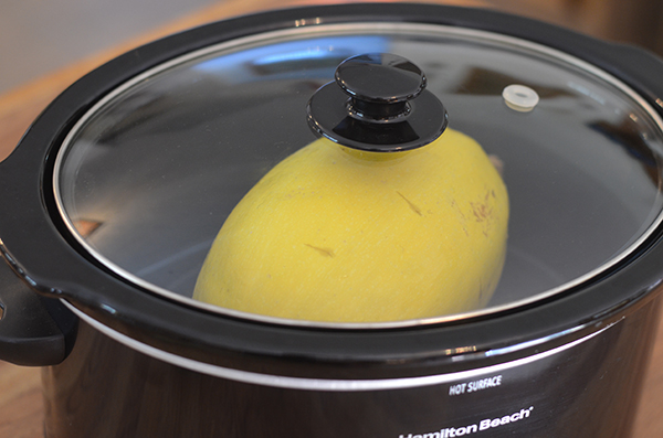 Crockpot Spaghetti Squash. Ain't nobody got time to waste cutting a raw spaghetti squash! Just pop it into your crockpot and you've got an easy side dish!