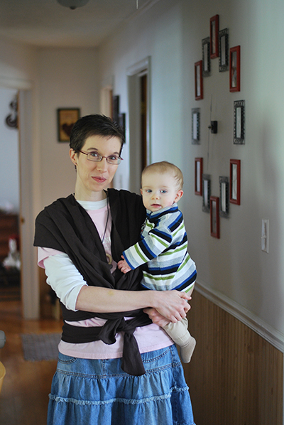 Babywearing in a Moby Wrap