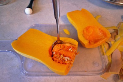 how to cut up butternut squash microwave